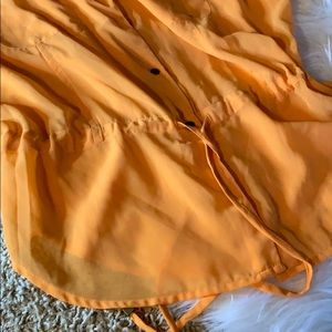 Jessica Simpson Tops - Sheer Orange Button Up Blouse by Jessica Simpson